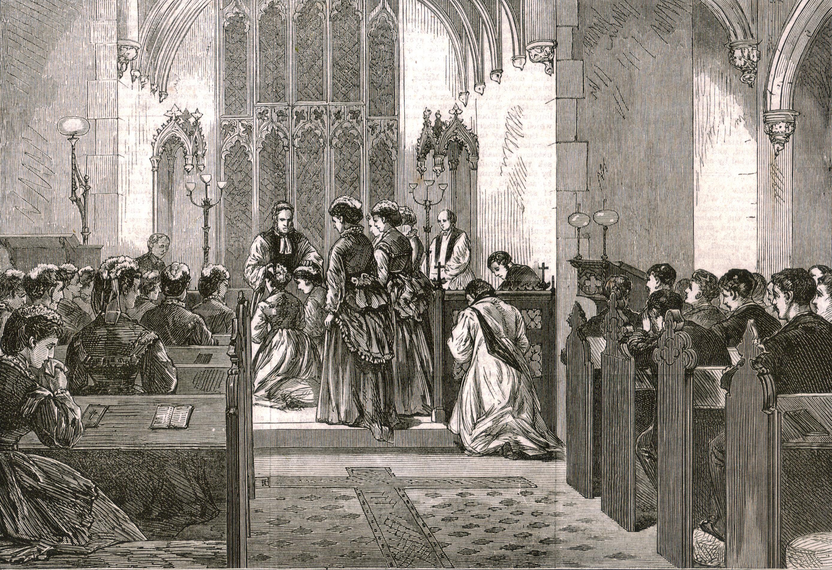 Art Antique Print 1867 Neither Too Hard Nor Too Soft Salisbury St Mary Bredin Church