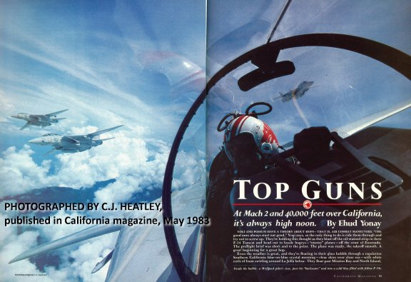 """91622ede4 Inside the bubble: a Wolfpack pilot's view, past his """"backseater"""" and into  a wild blue filled with fellow F-14s. PHOTOGRAPHED BY C.J. HEATLEY."""