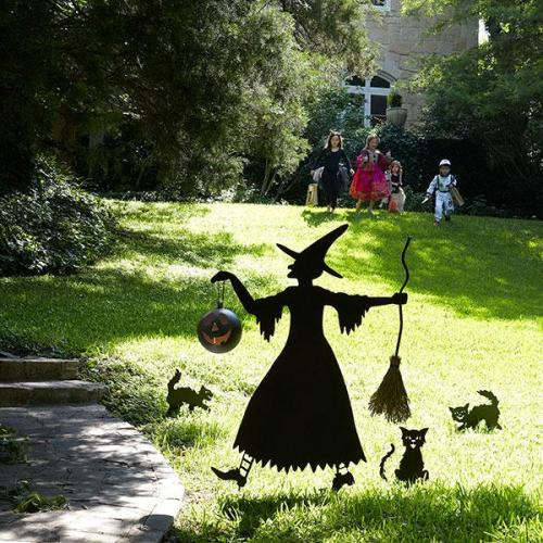 wisteria silhouette witch and cat entourage - Halloween Decorations Witch