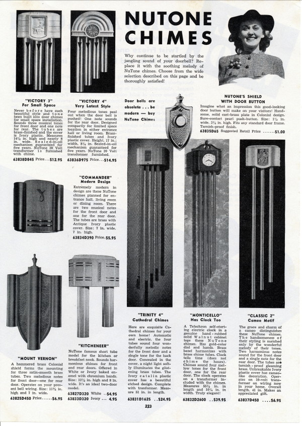 Your Site Name Vintage Nutone Door Chimes 1930 S Catalog Page From The A C Becken Company