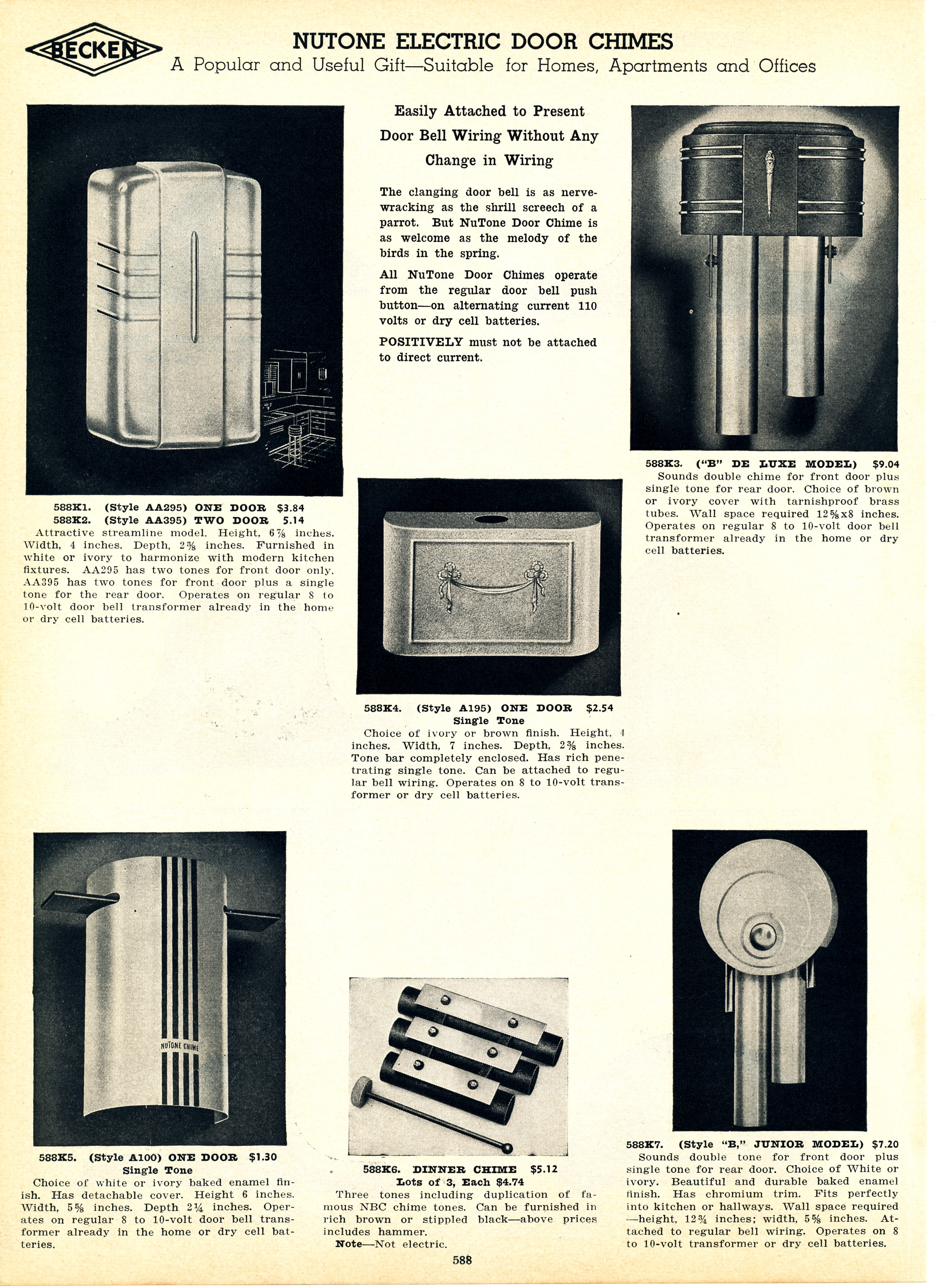 Your Site Name Vintage Nutone Door Chimes 1930s Catalog Page Wiring A Chime Transformer Cindy Christopher